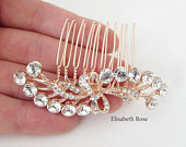 Small Rose Gold Hair Comb, Decorative Crystal Rose Gold Hair Comb, Rose Gold Wedding Hair Accessory, Small Rose Gold Hair Comb