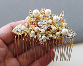 Gold Bridal hair comb, Art deco hair comb, Wedding headpiece, Wedding hair comb, Pearl hair comb, Wedding hair accessory, Bridesmaid