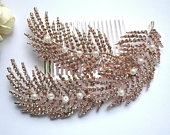 Big rose gold feather hair comb with pearls Big blush feather hair piece Wedding hair comb Bridal hairbclip feather 20s 30s hair piece 48