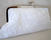Bridal clutch bag in beautiful embroidered sequined cotton fabric in Ivory, Fabric no.5