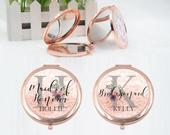 Personalised Rose Gold Compact Mirror Bridesmaid Gift Maid Of Honour, Mother of Bride Groom Gift Box Bag Monogram Pocket Folding Mirror