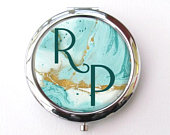 Useful Gifts For Women, Seafoam Personalized Compact Mirror, Bridesmaid Gift