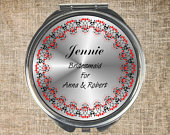 Compact mirror, Bridesmaid gift, Mother of bride gift, Maid of honour gift, Flower girl gift, Wedding gift, Personalised mirror