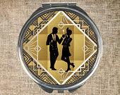 Compact mirror, Round compact, Mirror and pouch, Twenties, Art deco