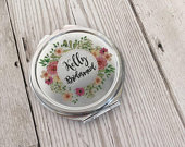 Silver Compact Mirror, Personalised Floral Wreath, Bridesmaid Gift, Will you be my Bridesmaid, Survival Box, Wedding Party Gift,Hen Party