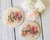 Watercolour Personalised Pocket Mirror 58mm in size. handheld mirror, Compact mirror, christmas gift stocking filler, Secret Santa Gift