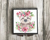 Sloth Floral Animal Compact Pocket Mirror, Bridesmaids, Womans, Girls Gift, Gift for Her