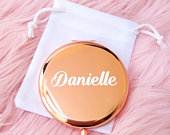 Personalised rose gold compact mirror, bridal party gift, maid of honour gift, rose gold wedding gift, bridal party gifts, hen party favours