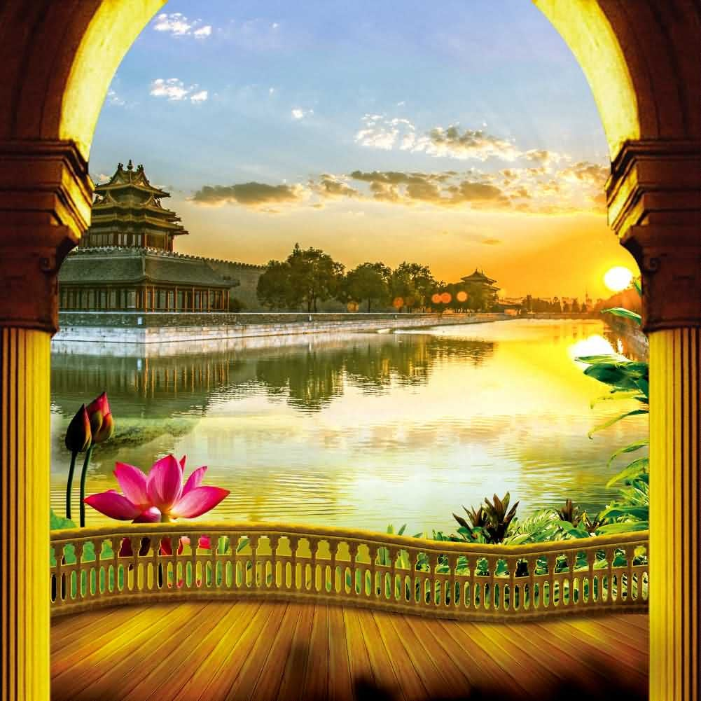 Arch Balcony Lotus River Photography Computer Print Background Landscape Theme Digital Backdrops Hxb-091