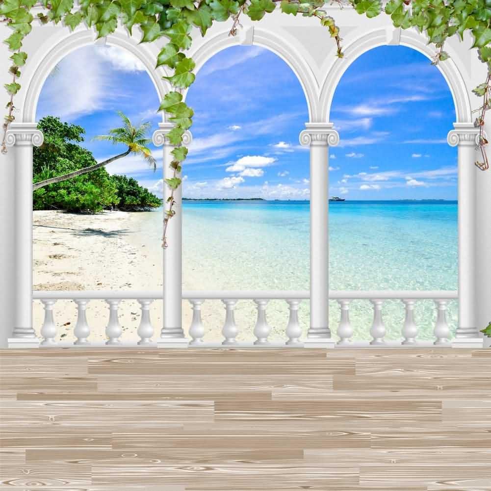 Arch Sandbeach Sea Plant Sky Photography Computer Print Background Seaside Theme Digital Backdrops Hxb-059