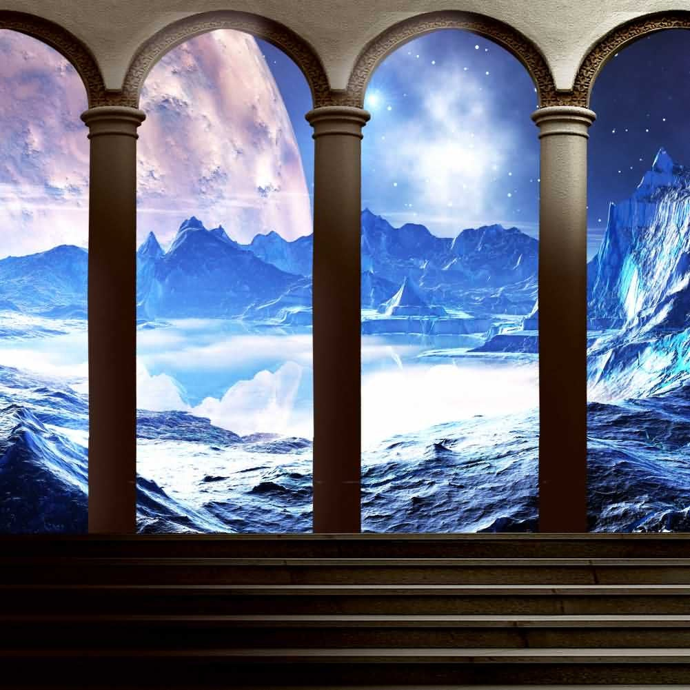Arch Sea Mountain Stairs Photography Computer Print Background Abstract Art Theme Digital Backdrops Hxb-094