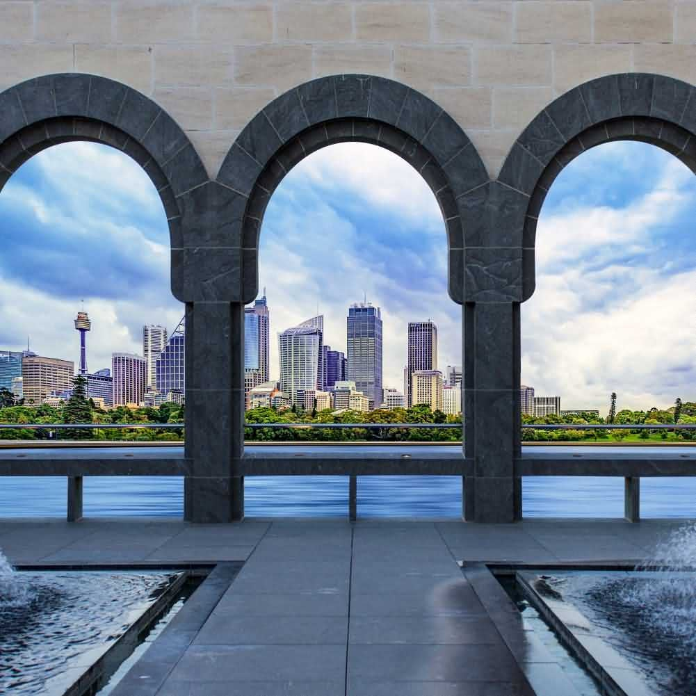 Arch Sea Building Sky Photography Computer Print Background Arches Or Pillars Theme Digital Backdrops Hxb-087
