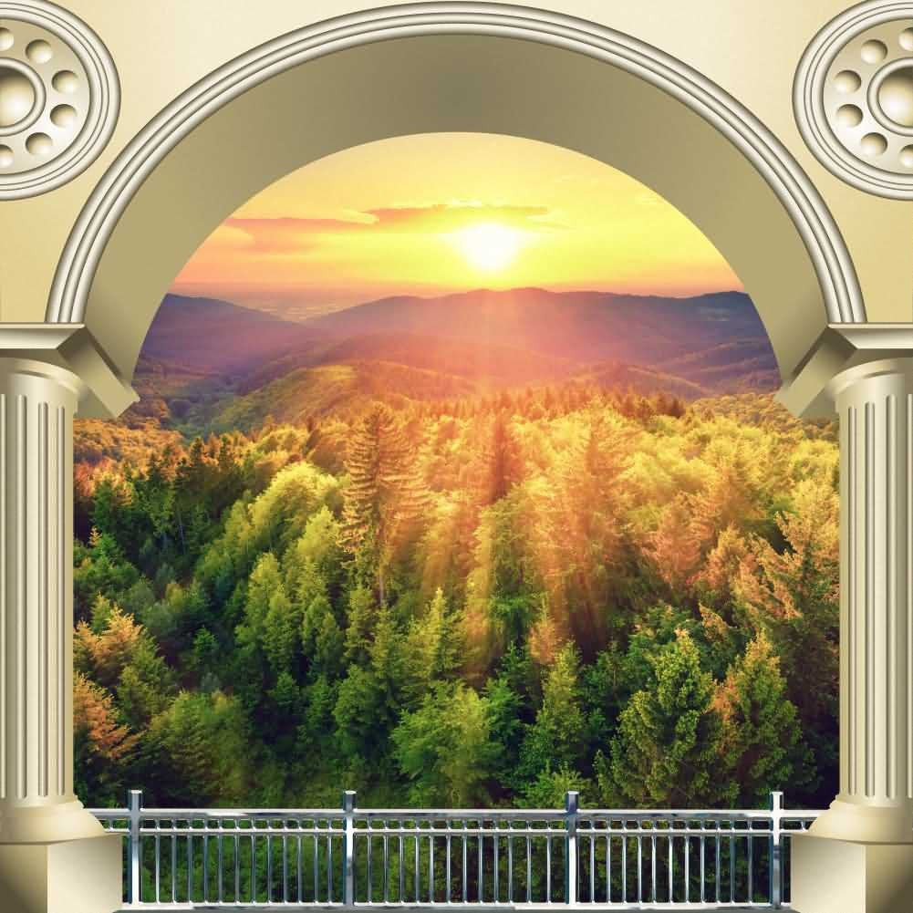 Arch Plant Sunset Photography Computer Print Background Arches Or Pillars Theme Digital Backdrops Hxb-107