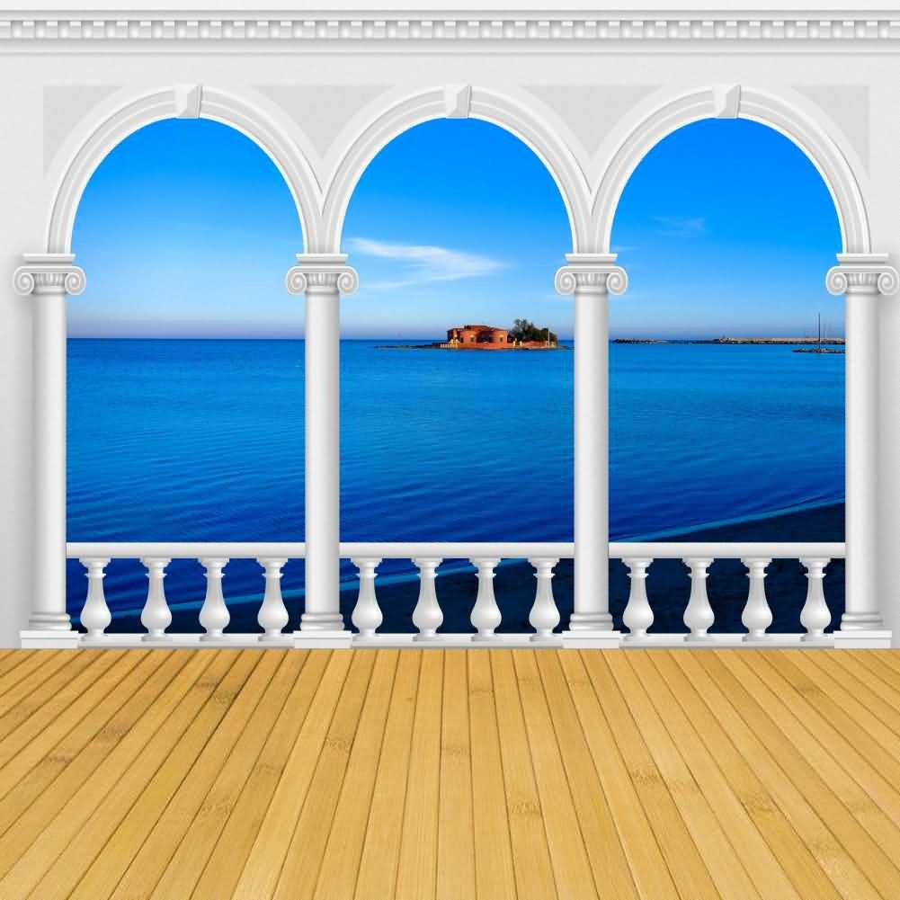 Arch Sea Cloud Island Photography Computer Print Background Arches Or Pillars Theme Digital Backdrops Hxb-058