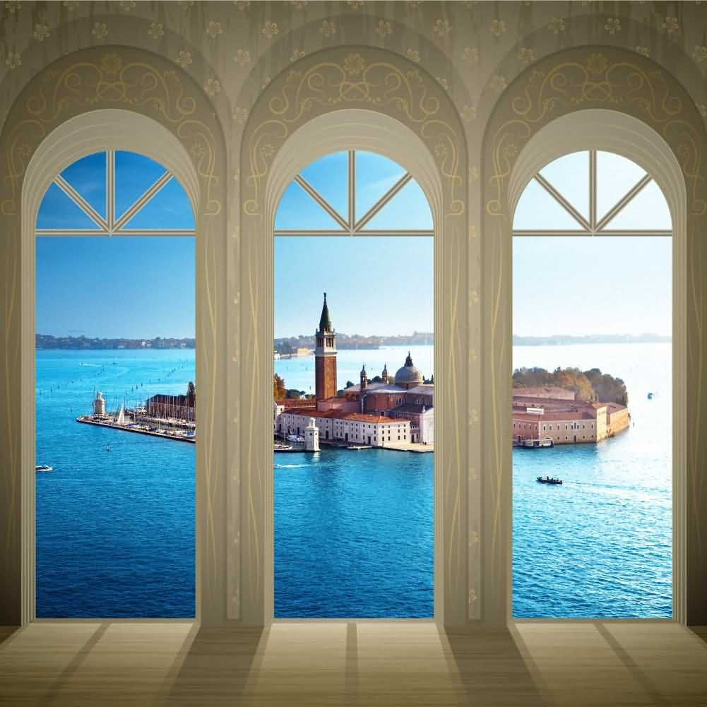 Arch Sea Castle Photography Computer Print Background Arches Or Pillars Theme Digital Backdrops Hxb-088