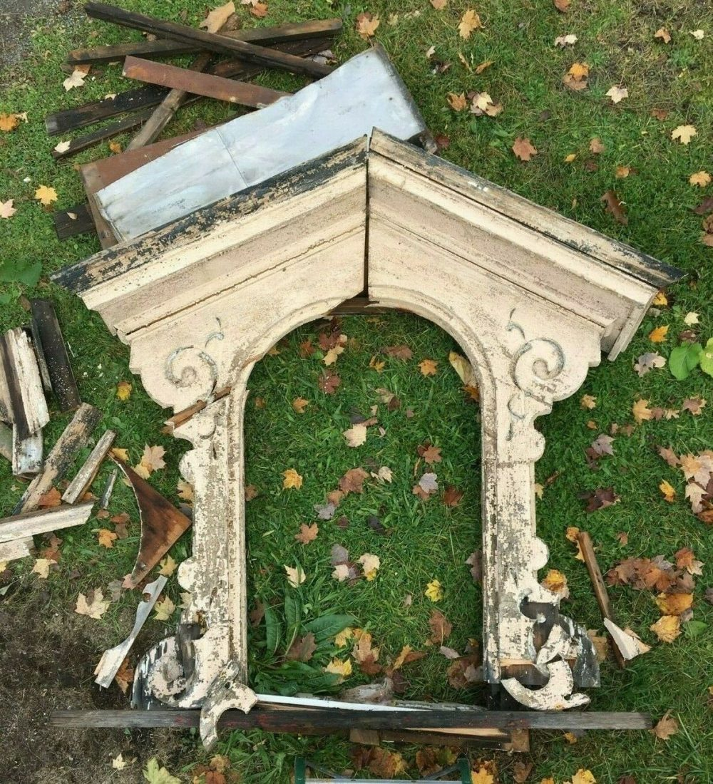 Antique Arch Mansard Dormer Window Pediment Vtg Architectural Salvage 322-19J Pick Up Only