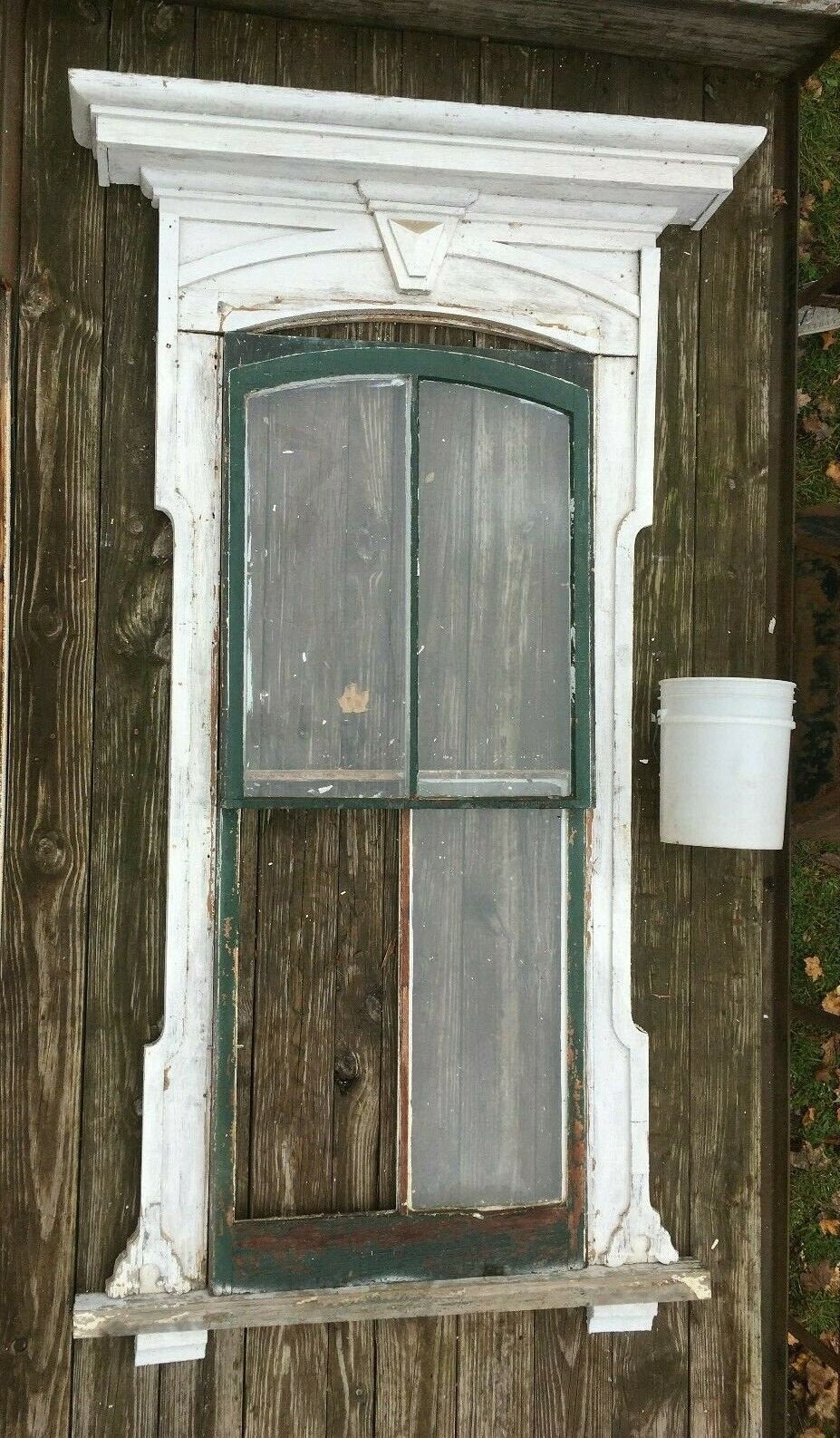 Antique Arch Window Surround Pediment Shabby Vtg Chic Gingerbread Old 337-19E Pick Up Only Or Buyer Arrange Shipping