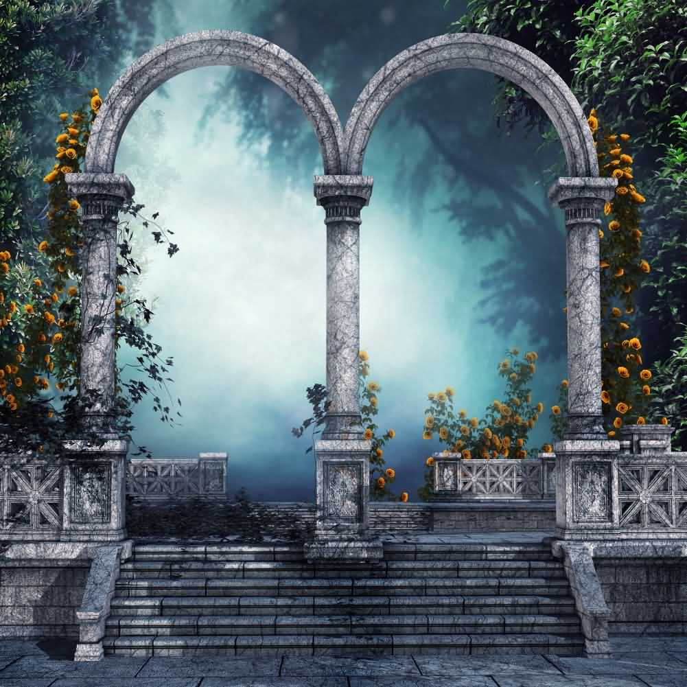 Arch Blossom Stairs Photography Computer Printed Background Arches Or Pillars Theme Digital Print Backdrops Abd-511