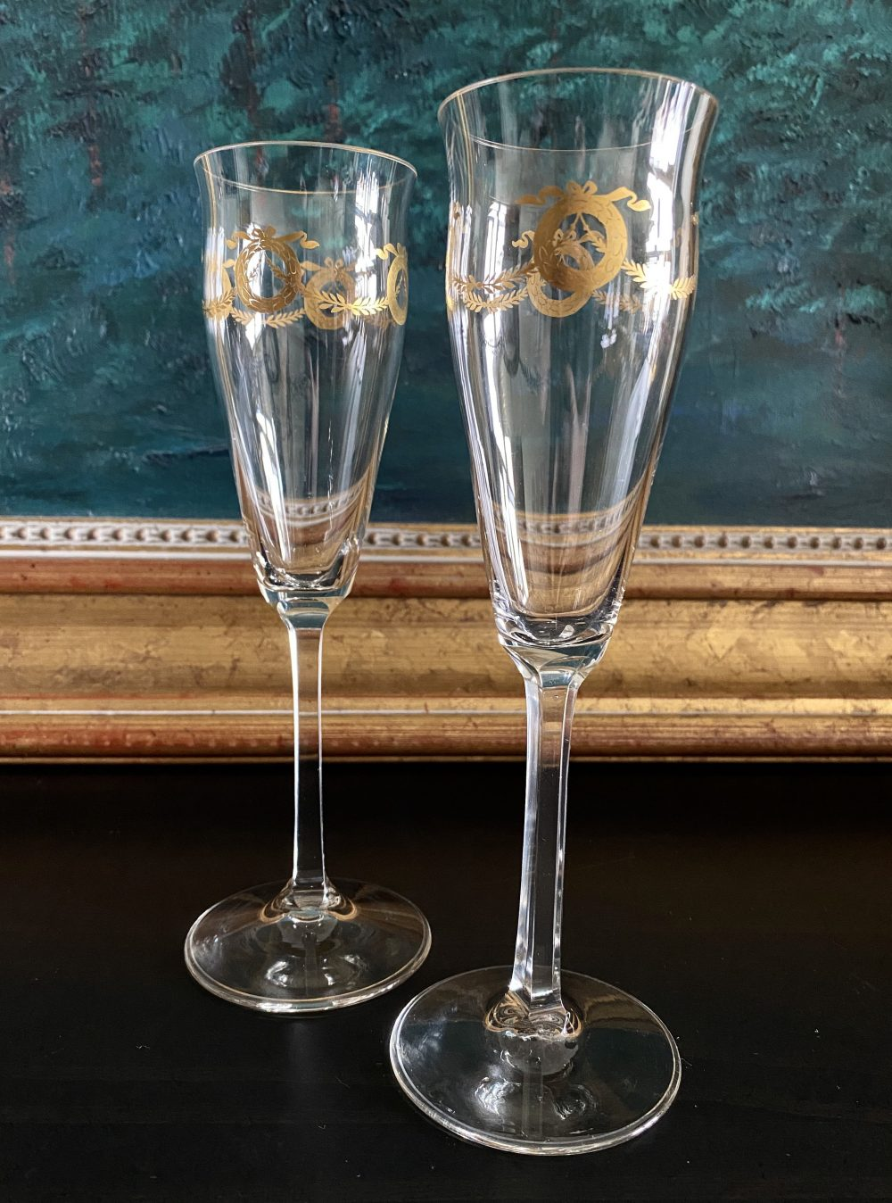 2 Gold Champagne Flutes •wreath & Swag• Square Stem • Completely Unknown Enchanting •beautiful