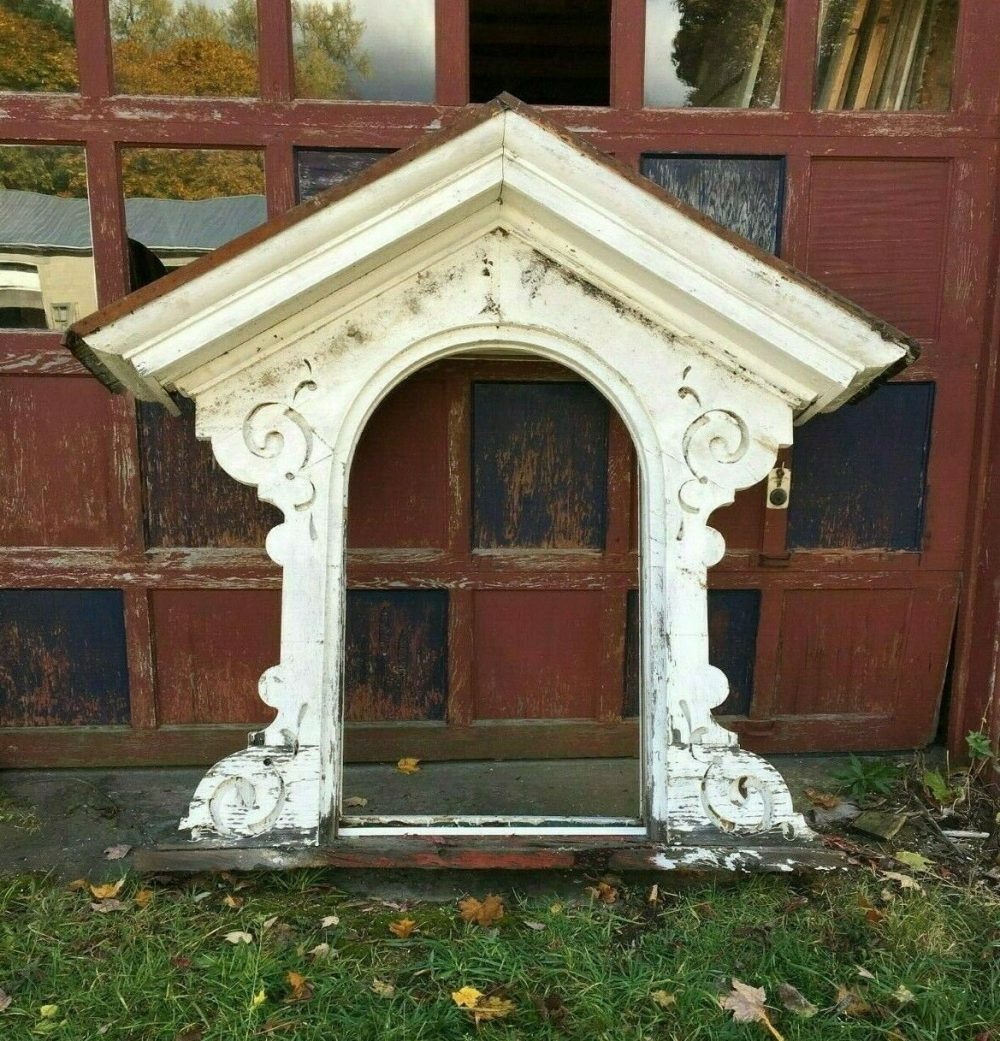 Antique Arch Mansard Dormer Window Pediment Shabby Vtg Chic Gingerbread 319-19J Pick Up Only