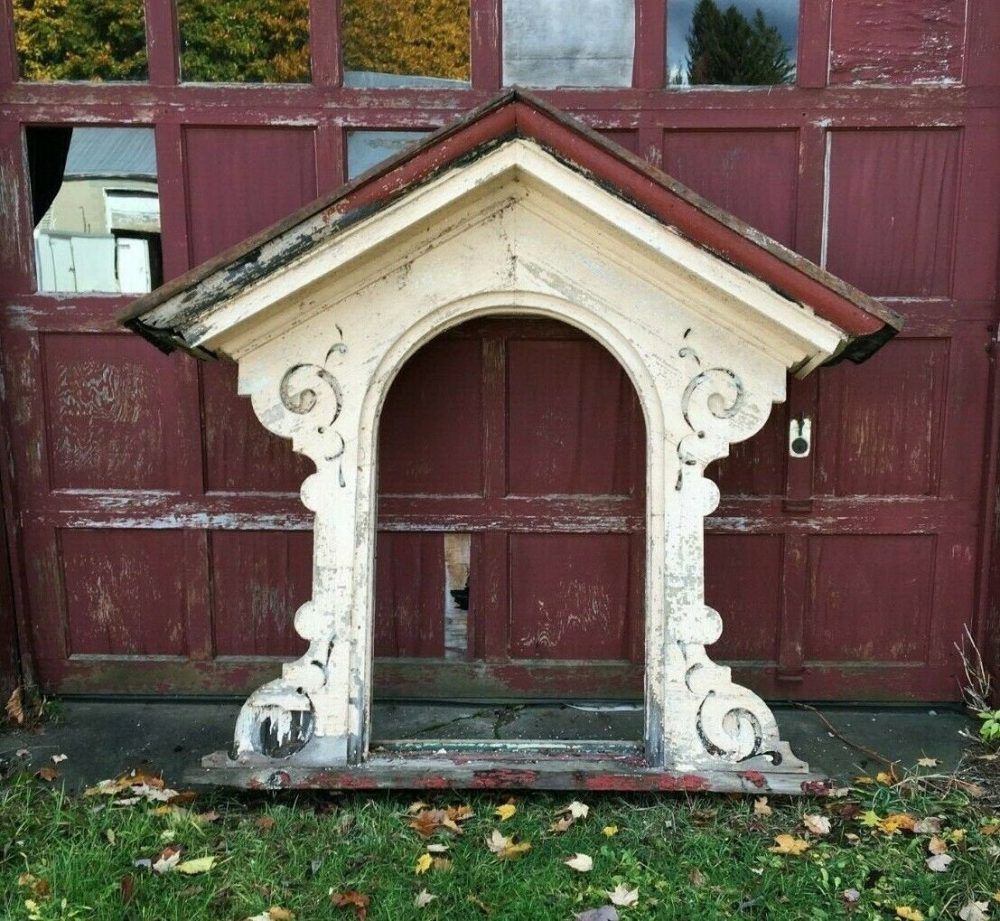 Antique Arch Mansard Dormer Window Pediment Shabby Vtg Chic Gingerbread 320-19J Pick Up Only