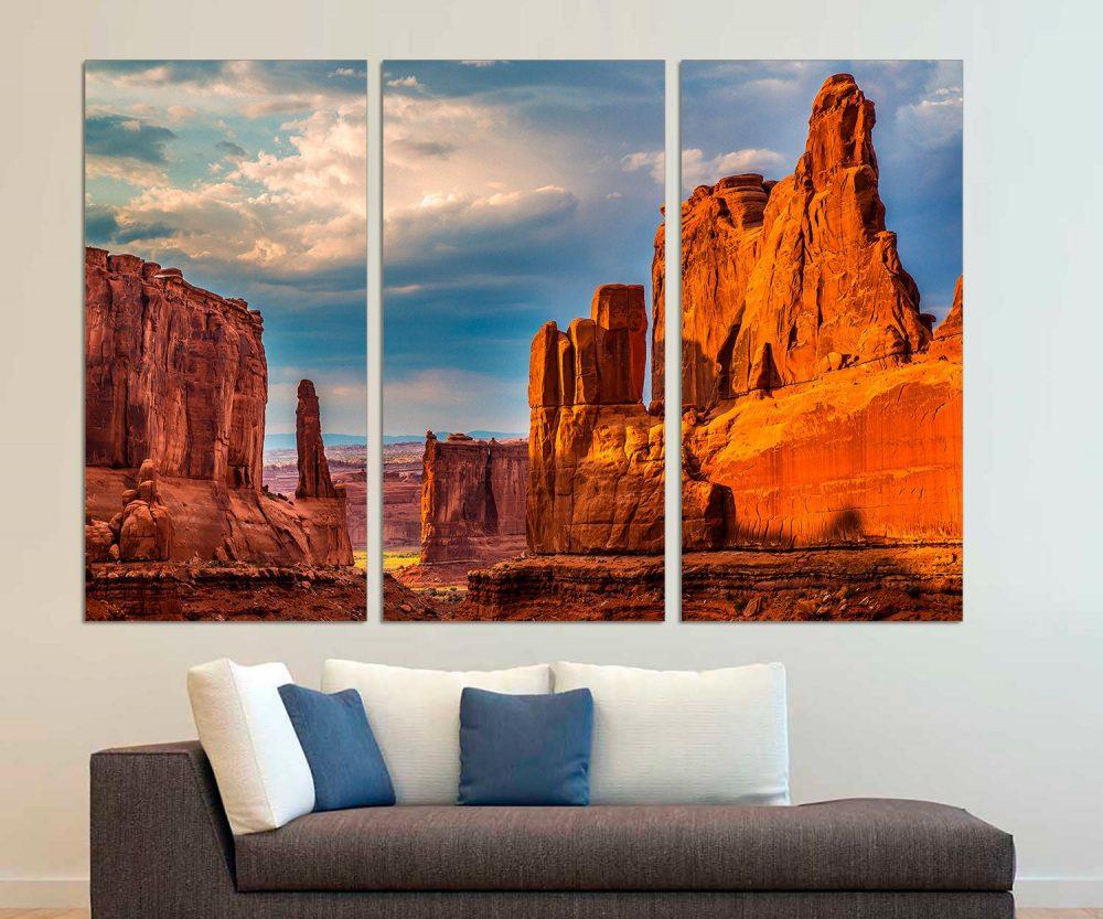 3 Panel Split Wall Art Canvas Print. Courthouse Towers, Arches National Park, Landscape Print For Interior Design, Park Art