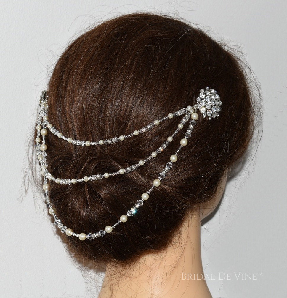"Bridal Hair Swag, Drape, Adornment, Tripple Boho Vintage Crystals - ""Fern"" Art Deco Headpiece Jewellery Up"