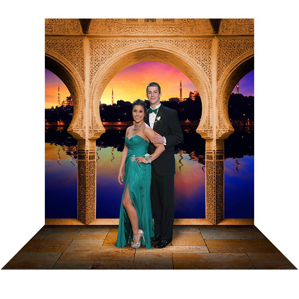 Arabian Balcony, Aladdin Backdrop With Ali Baba Mosaic Arch, Prom Queen, Or Princess Party Decor, Beautiful Sunset, Jasmine Photo