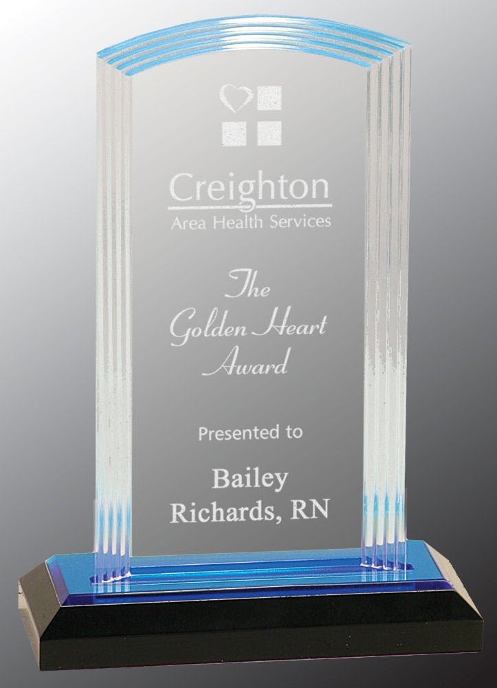 Acrylic Step Arch Engraved Award Plaque, Recognition, Gift