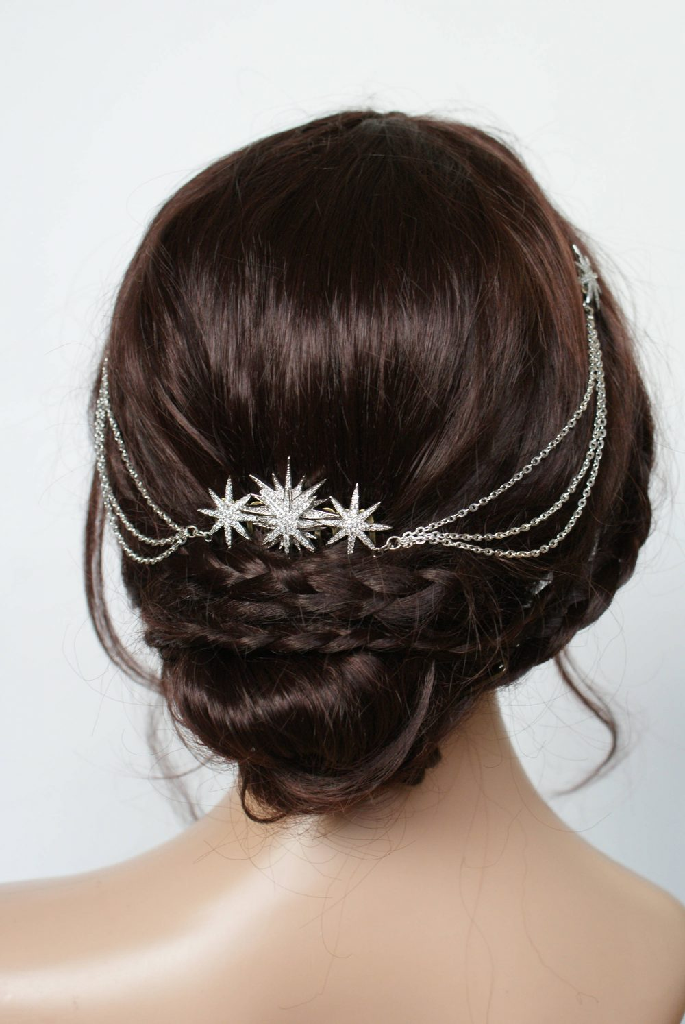 Star Bridal Headpiece - Wedding Hair Drape Celestial Accessory With Swags Silver Chain- Modern Stars