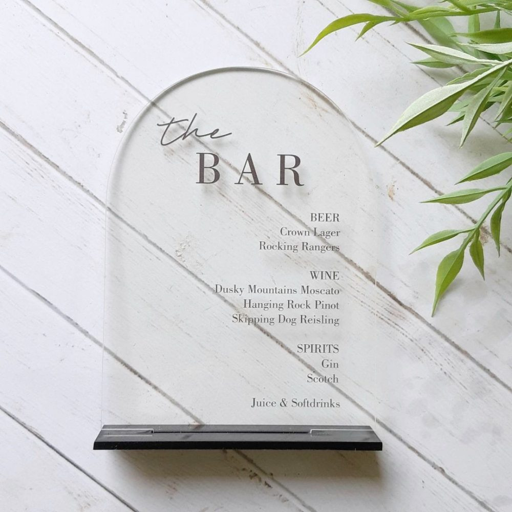 Acrylic Bar Menu Sign Black Arched Modern Event Drinks List - Wedding Engagement Drink in Love Personalised Menu