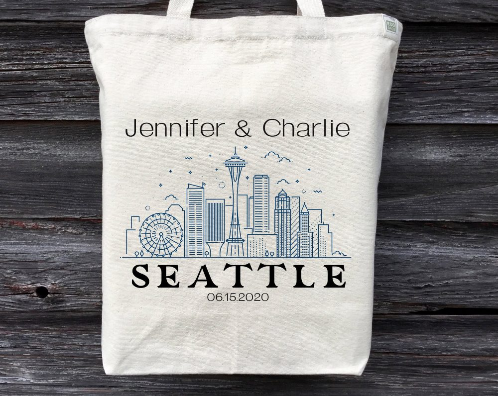 Seattle Wedding Tote, Welcome Bag, Swag Personalized Guest Skyline Tote