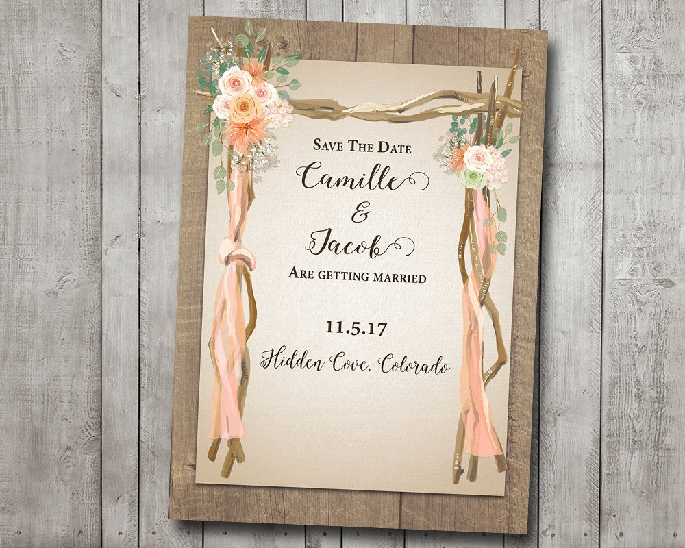 Save The Date Wedding Rustic Arch Peach Pink Cream Flowers Driftwood Brown Wood Barn Country Digital Or Printed I Customize For You