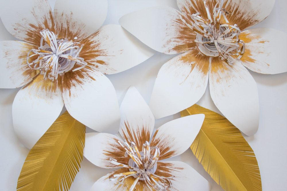 3 White Paper Flowers, Gold 3D Wall Flower, Centerpiece, Wedding Backdrop, Nursery Decor, Photo Booth Props, Arch Flowers