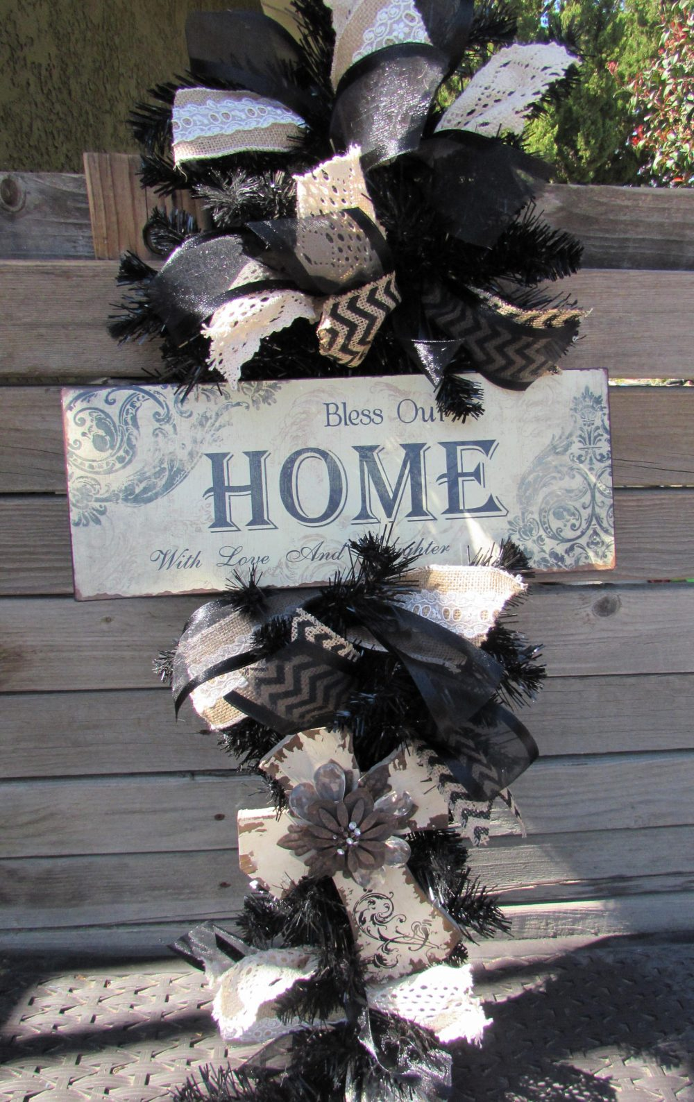 3' Cross Wreath Religious Door Decor Teardrop Bless Our Home Love & Laughter Black White Swag