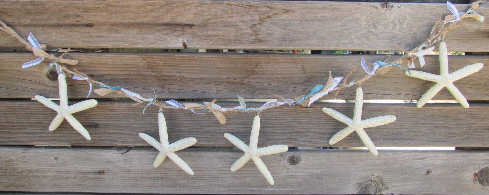 3' Starfish Garland Beach Themed Mantel Ribbon Swag Blue Sea Summer Wedding Decor