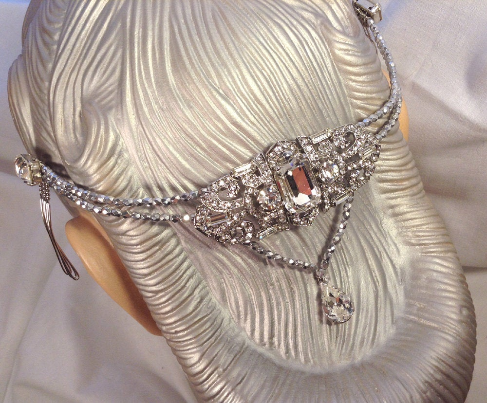 Bridal Swag~ Rhinestone Hair ~ Back Chain Forehead Band Vintage Wedding Headpiece Jewelry Pearls Heaven