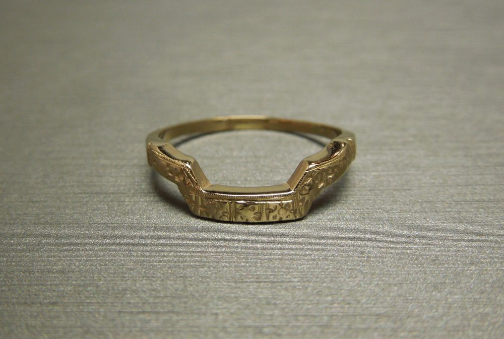 Antique Pre Art Deco Estate C1930 14K Yellow Gold Square Ring Guard/Arched Curved Wedding Band Sz 5.75