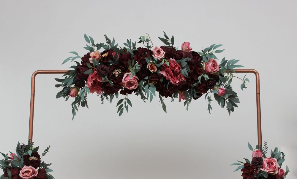 Set Of 3 Burgundy Pink Flower Arch Arrangement Wedding Flowers Corner Swag Faux Wedding