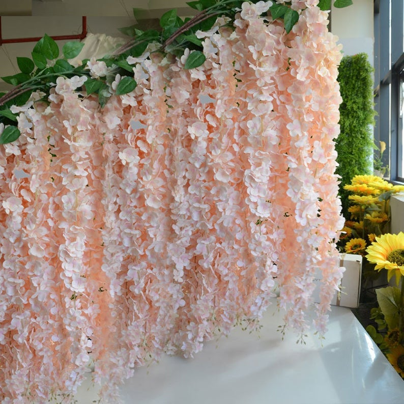 "164cm/64.6"" Wisteria Garland Hanging Flowers For Outdoor Wedding Ceremony Decor Silk Vine Arch Floral Decoration Shop"