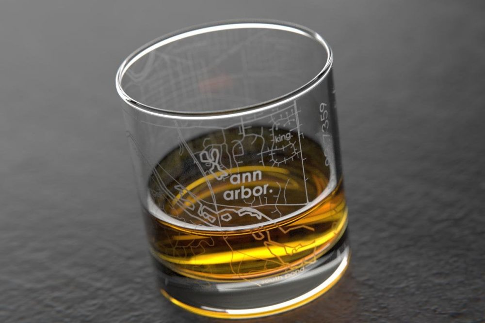 Ann Arbor, Mi Map Rocks Whiskey Glass Gift