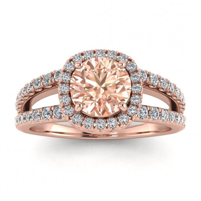 14K Rose Gold Elara Unique Double Band Morganite & Diamond Halo, Arched Gallery, French Pave Split Shank