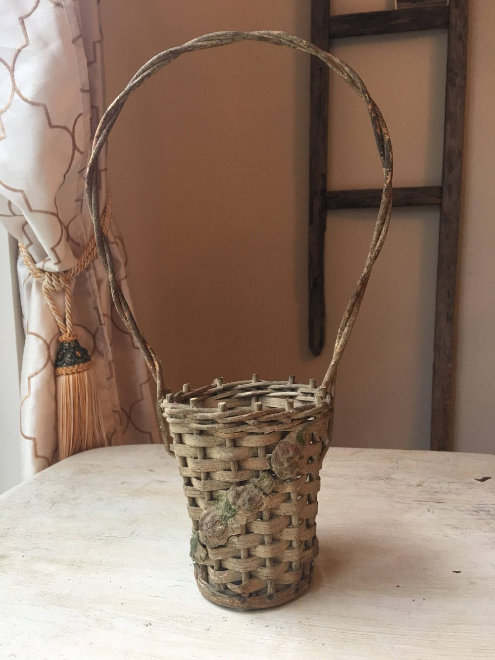 Antique Basket With Barbola Flower Swag, Victorian Plant Flowers, French Rose, Long/Tall Handle, Wedding, Funeral, Easter