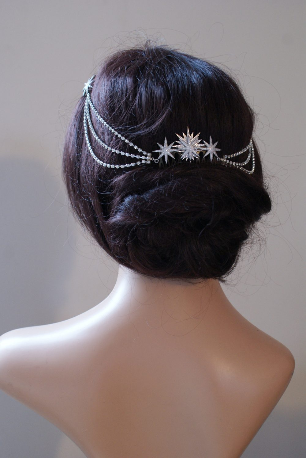 Luxury Star Bridal Headpiece With Crystal Hair Drape - Accessory Swags Silver Chain- Modern Stars