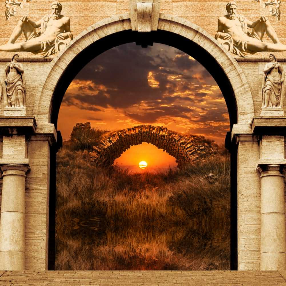 Arch Sunset Plant Photography Computer Print Background Arches Or Pillars Theme Digital Backdrops Hxb-110