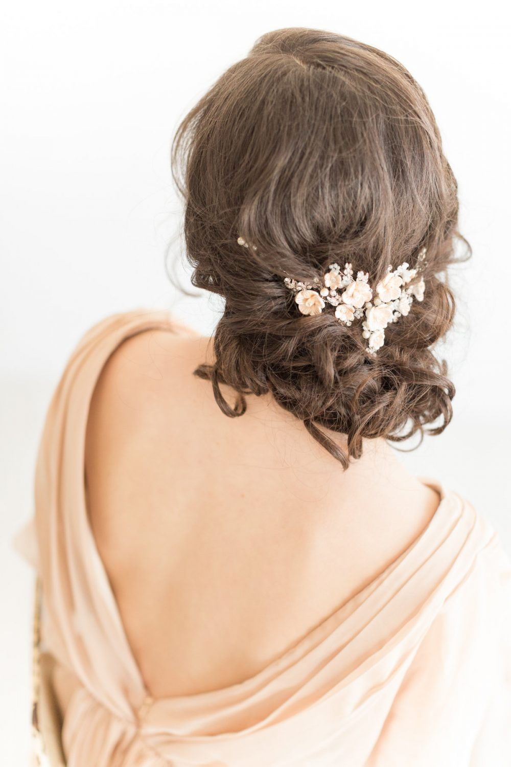 Wedding Floral Hair Vine, Bridal Headpiece, Hairpiece, Swag, Champagne Flower Pins