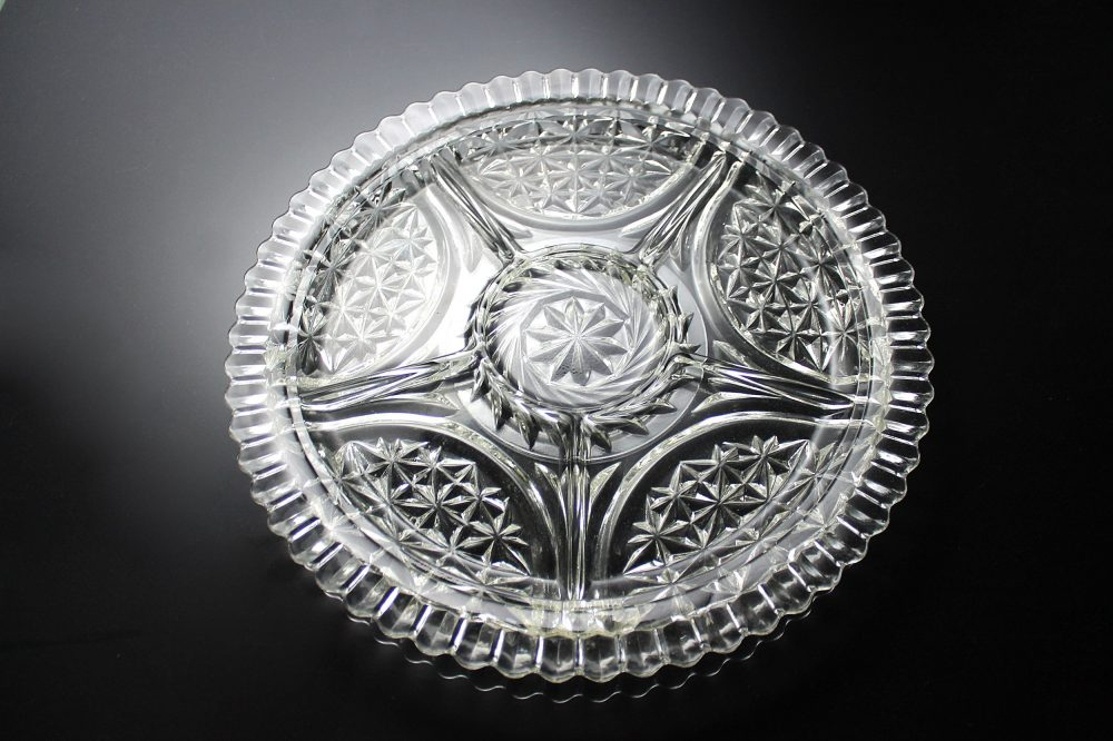 Anchor Hocking Divided Relish Tray, Stars & Bars, Star Arch, Clear Pressed Round Glass, 12 Inch, 6 Section
