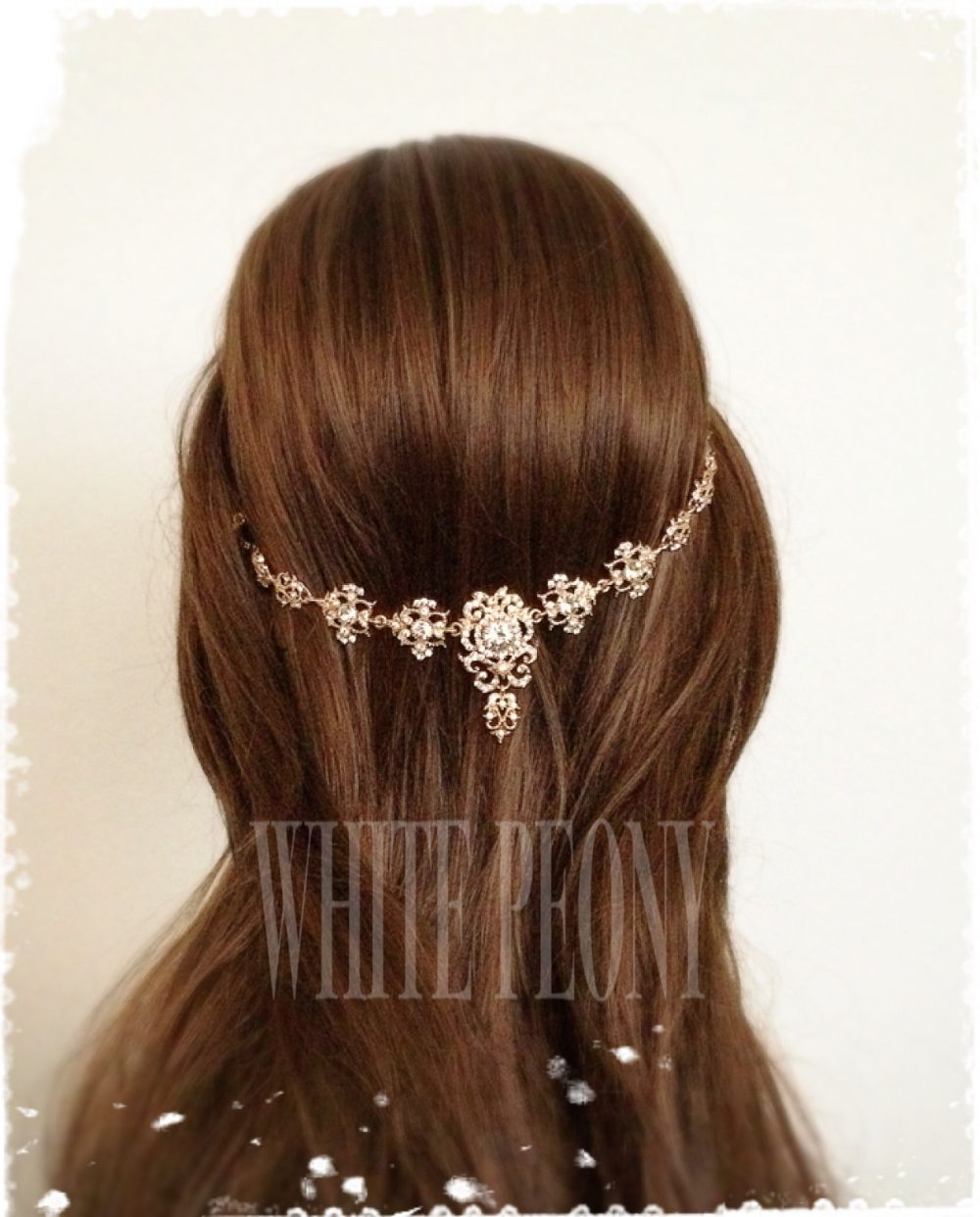 "Champagne Gold Vintage Gatsby Inspired Crystal Headpiece Head Dress-Boho Goddess Hair Wrap-Art Deco Backside Chain-""Alida Gold Swag"""