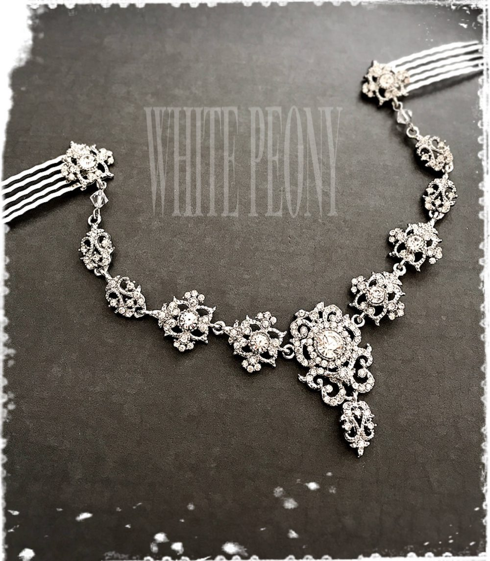 "Vintage Gatsby Inspired Crystal Headpiece Head Dress-Boho Goddess Hair Wrap-Art Deco Bridal Backside Tiara Chain-""Alida Swag"""