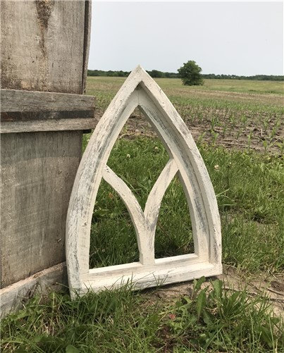 Arched Cathedral Window Frame, Distressed Farmhouse Wall Decor, Art, Faux Panel, Gothic Church